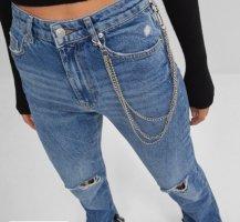 Bershka Jeansy z prostymi nogawkami chabrowy