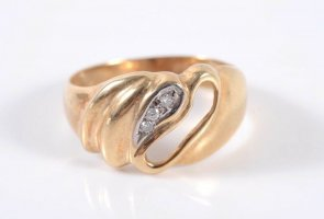 Brillant 585er Gold Ring mit 3 Diamanten 14kt Goldring