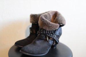 Bronx Bottes à talon noir cuir