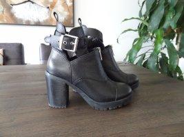 BRONX Stiefelette mit Blockabsatz, Gr. 37, Schwarz, Leder, top Zustand!!