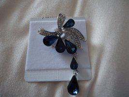 Brosche blau Schleife mit Tropfen