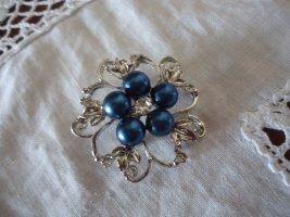 Brosche Blaue Perlen