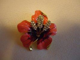 Brosche Blume orange