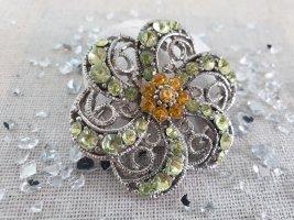 Brosche Broschette Blume Bunt Grün Gelb Strass Neu