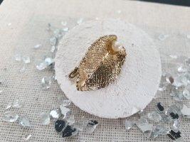 Brosche Broschette Goldfarbige Blatt Perle Retro