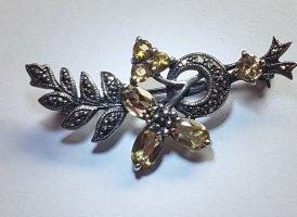 Brooch silver-colored-dark yellow metal