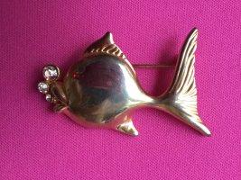 Brosche Fisch mit Swarovski Elements Steinen Gold Silber schimmernd