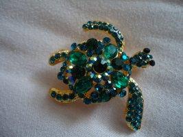 Brosche große grüne Schildkröte