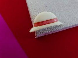 Brosche Hut Weiß Pink Verspielt Retro Schmuck