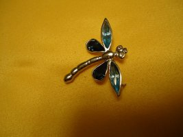 Brosche Libelle blau
