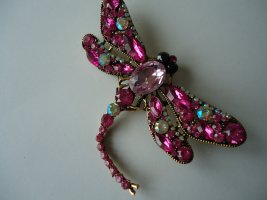 Brosche Libelle rosa