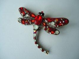 Brosche Libelle rot