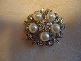 Brosche Perlen silberfarben