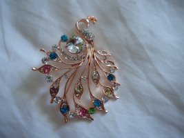 Brooch gold-colored-neon pink