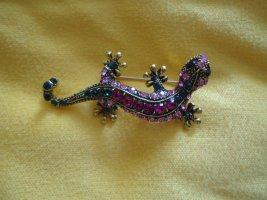 Brosche Salamander bunt