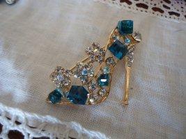 Brosche Schuh silber-blau