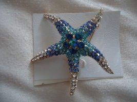 Brosche Seestern blau