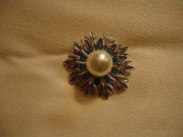 Brosche silberfarben blau Perle
