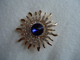 Brooch blue-gold-colored