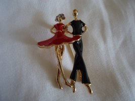Brooch gold-colored-neon red