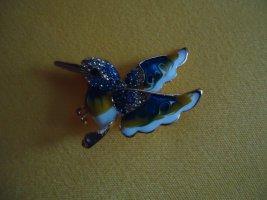 Brosche Vogel blau