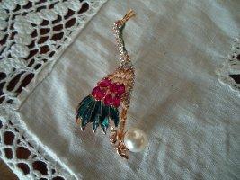 Brosche Vogel bunt Perle