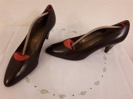 Bruno Magli, braune Spitz-Pumps, eleganter Stil, Vintage-Look, Gr. 41