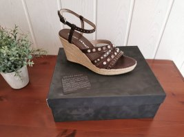 Bruno Premi Wedge Sandals camel-brown leather