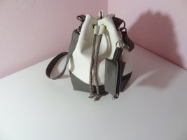 Pouch Bag natural white-dark grey imitation leather