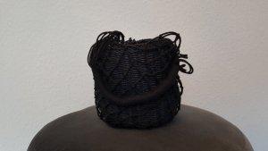 Topshop Bolso tipo cesta azul oscuro-negro Algodón