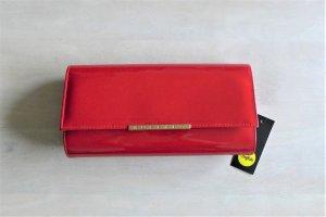 Buffalo Abend Handtasche Clutch rot Lack Kunstleder silber neu