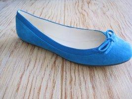Buffalo London Slingback Ballerinas neon blue leather