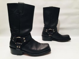 Buffalo Biker-Boots schwarze Stiefel aus Leder Gr.38