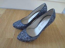 Buffalo High Heels, Gr. 37, silber-grau-glitzer, nur 2x getr. NEU