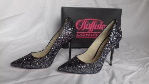 "Buffalo London ""Glitter Pewter"" High Heels"
