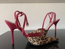 Buffalo London - Leoparden-Heels mit pinkem Absatz und Riemchen