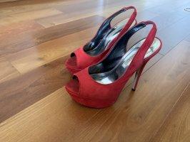 Buffalo London Sandalo alto con plateau rosso scuro