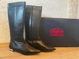 Buffalo London Stiefel echtleder schwarz mit verchromtem Absatz und OVP