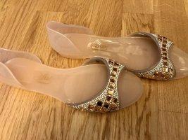 Buffalo: Peeptoe Ballerinas Badeschuhe mit Glitzersteinen Gr. 40