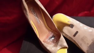 Buffalo High Heels yellow-oatmeal