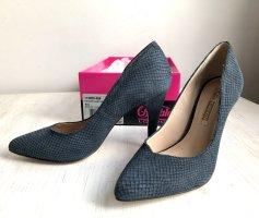 Buffalo London High Heels slate-gray-cornflower blue leather
