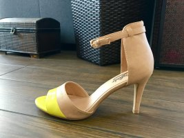 Buffalo High Heel Sandal neon yellow-beige leather