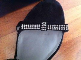 Buffalo Slingsandale Sandalette schwarz mit Strass Gr. 41 NEU echtes Leder