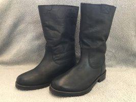 Buffalo London Futrzane buty ciemnobrązowy Skóra