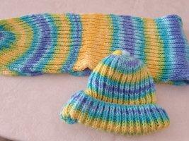 keine Écharpe en tricot jaune-turquoise