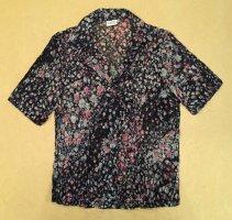 bunte Bluse mit Bümchen und Knöpfen, kurzärmlig, Gr. 40