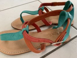 Toe-Post sandals bright red-light blue