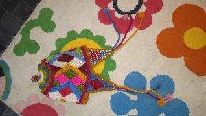 Bonnet en crochet brun sable-rouge brique