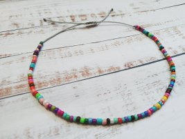 Buntes Makramee Fußkettchen Fußkette mit bunten Perlen und hellgrauem Band NEU größenverstellbar