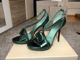 Burberry Prorsum High Heel Sandal dark green leather